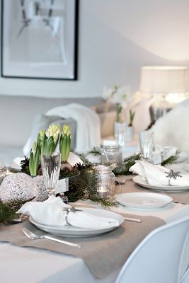 Hyacinths - Winter table setting