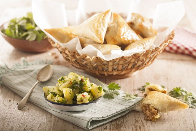 Soy samosas with pineapple salsa • If you've never enjoyed soy mince, this recipe may just change your mind! And you'll save money by not using mince meat.