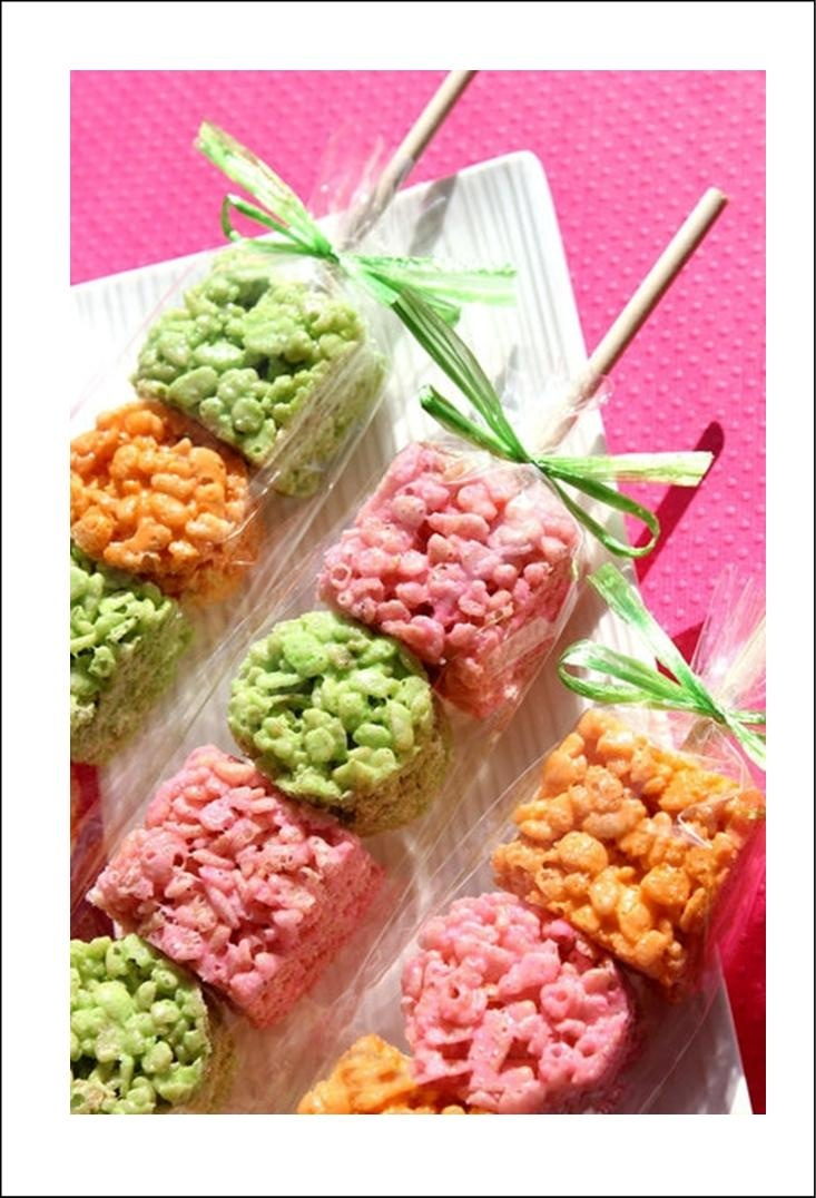 Rice Krispies on a stick.  Add food coloring to the marshmallows to change the color.  Great idea for a themed party or wedding