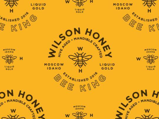 Wilson Honey Bee King - Logo, markup, black, yellow, typography, circle, clean, simple, vintage, retro, illustration, vector, brand identity