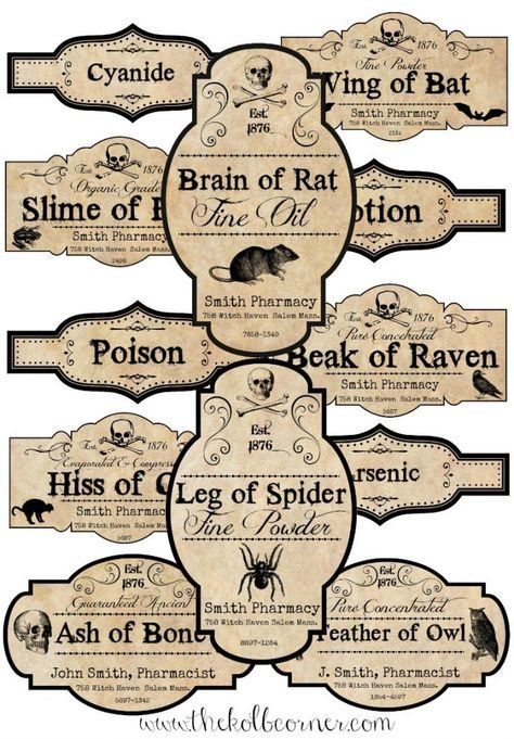 Make your own spooky Apothecary jars for Halloween with these FREE printable labels