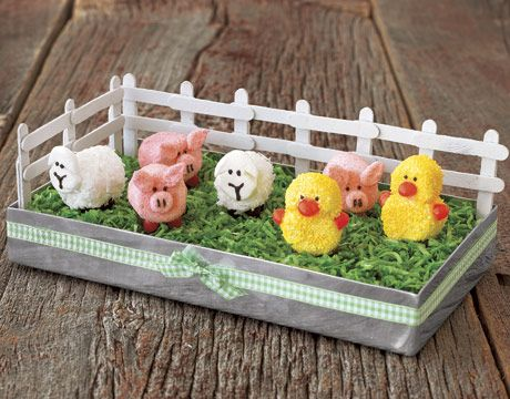 Marshmallow Barnyard Centerpiece  This easy — and delicious — project brings color to the table, and calls for just a few common grocery store items    Read more: How to Make a Marshmallow Barnyard Centerpiece - Spring Decorating - Country Living