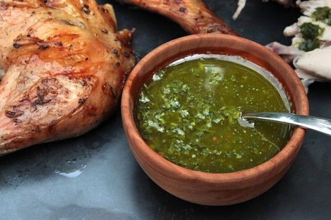 Argentine Chimichurri sauce- 1/2 cilantro, 1/2 parsley, 1 tsp oregano, lime juice.
