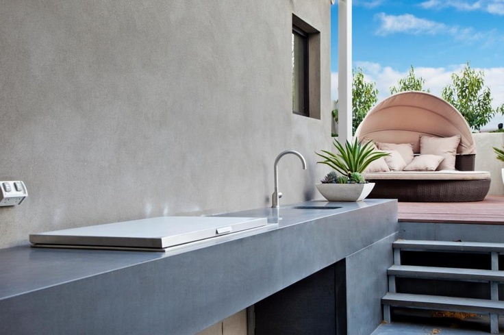 Here is a picture of a BBQ area with a difference. The difference being; that the BBQ is dressed in stone. Material chosen is natural Bluestone. A great idea for consideration when planning an outdoor kitchen... Using stone for outdoor kitchen projects seems to be trending with our customers this summer at Granite Planet.