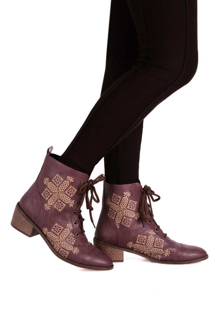 Purple & Beige Moroccan Embroidered Lace Up Ankle Boots made from cruelty free leather and rubber sole. Moroccan embroidery is extremely rare to find. It is a passing work of art which is losing onto its artistic heritage due to a narrow segment of people in the world treasuring its traditional value. In earlier times, it used to support women in Morocco financially and provided a platform for social interaction. The beautiful pieces created here traditionally involve monochromatic, geome...