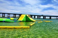 The Crab Island Water Park is located in the middle of the water at Crab Island. You will need a boat to get there, but it's worth the trip!
