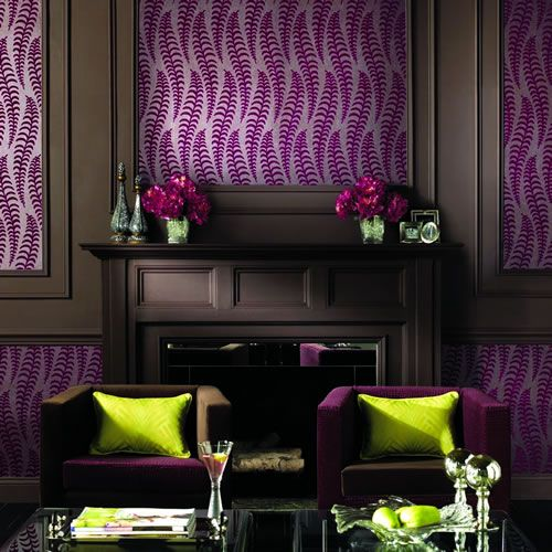 Contrast Of Purple Wallpaper And Lime Cushions