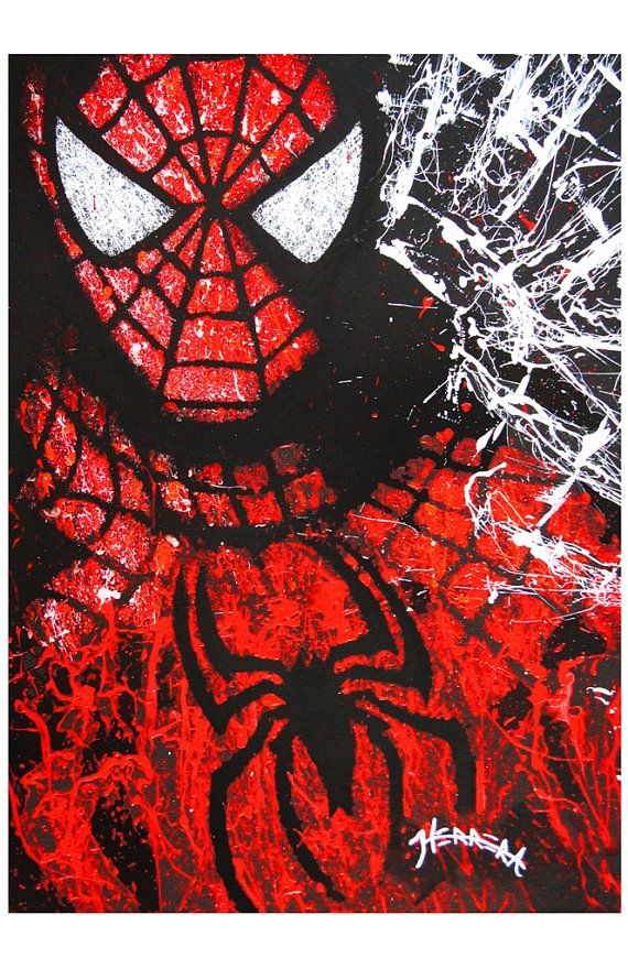 Spider Man Acrylic on Canvas 11x17 Artist Signed door RockinARTitude
