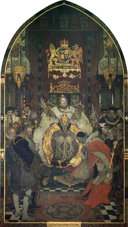 The Commons Petitioning Elizabeth I to Marry, by Solomon Joseph Solomon