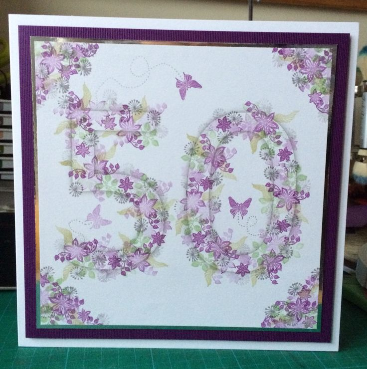 Print the number in light grey with shadow and cover with Card IO Majestix 'Clematis Garden' clear peg stamps. Glitter and/or add some pearls or diamanté.