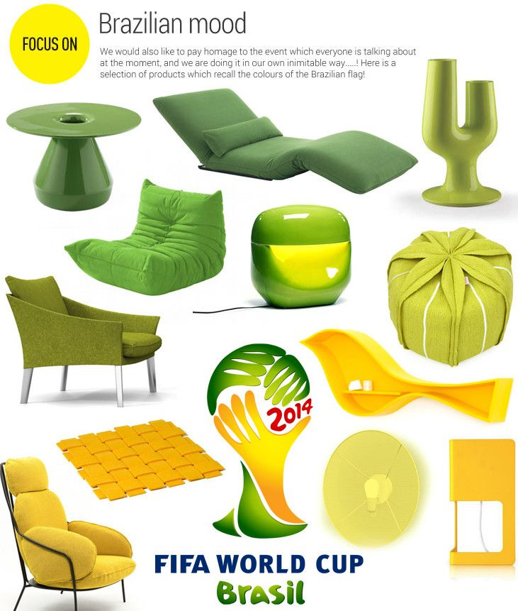 We would like to pay homage to the event which everyone is talking about at the moment. Here is a selection of products which recall the colours of Brazilian flag! #fifaworldcup #brazil #football
