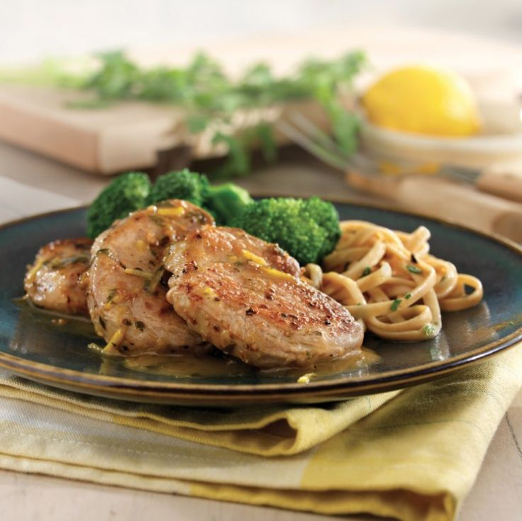 Pork Medallions with Lemon Garlic Sauce Recipe {Good and Good for You Challenge} from addapinch.com