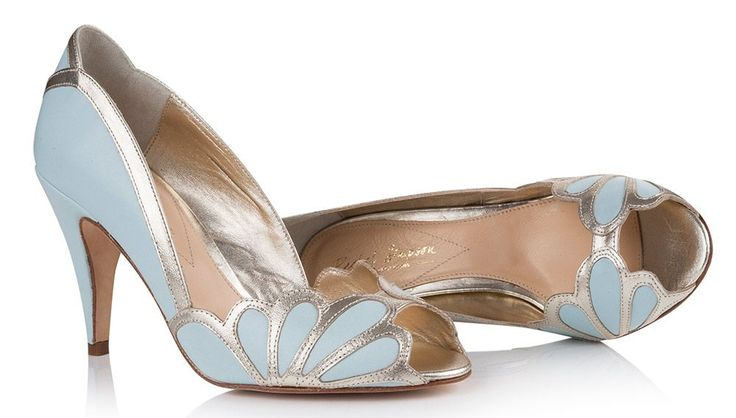 The ice blue Isabelle shoe by Rachel Simpson is a gorgeous peep toe design made from soft leather