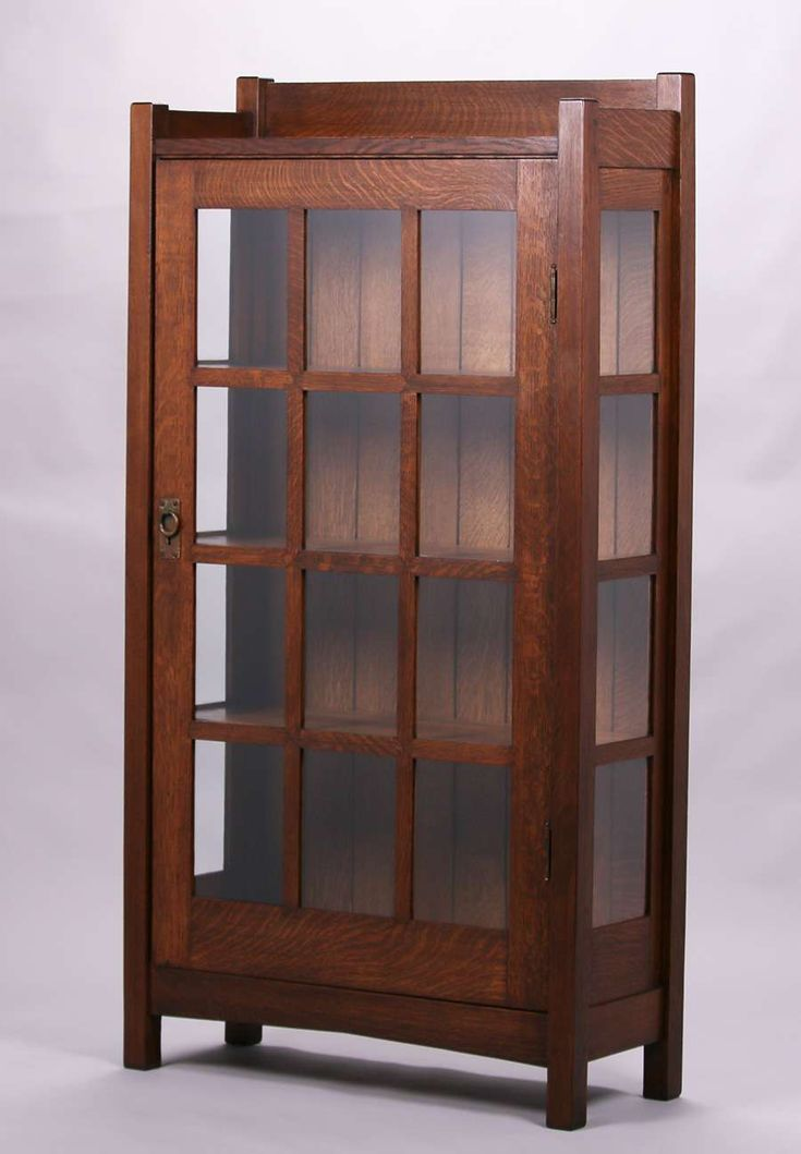 Early Gustav Stickley One Door China Cabinet With Mitered Mullion Construction C1901 Unsigned