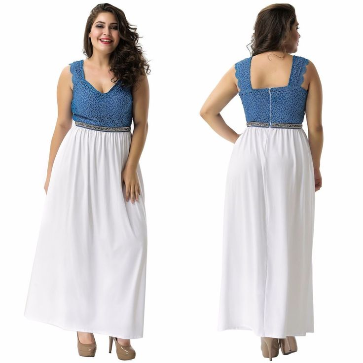 Women's Plus Size White Blue Lace Sleeveless Maxi Long Party Evening Dress M-2XL
