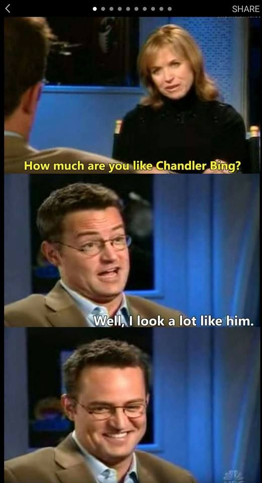 He looks so proud of himself<<<< of coarse he does he's Matthew Perry