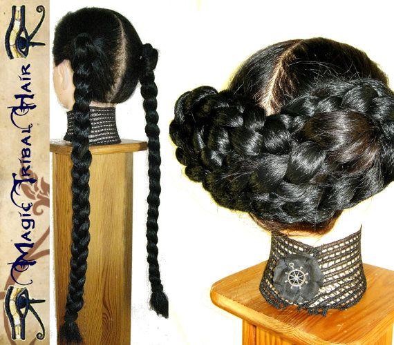 2 x CUSTOM Chignon BRAID PONYTAIL hair filler 20''/ 50 cm long hair piece extensions falls Medieval wig Renaissance Wedding updo Prom hairdo