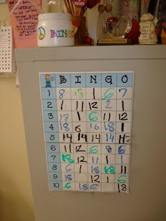 as a reward for positive movement on behavior chart, they write their number on the big BINGO chart.  Everyday, a bingo number is pulled and that kid gets a trip to the treasure box.
