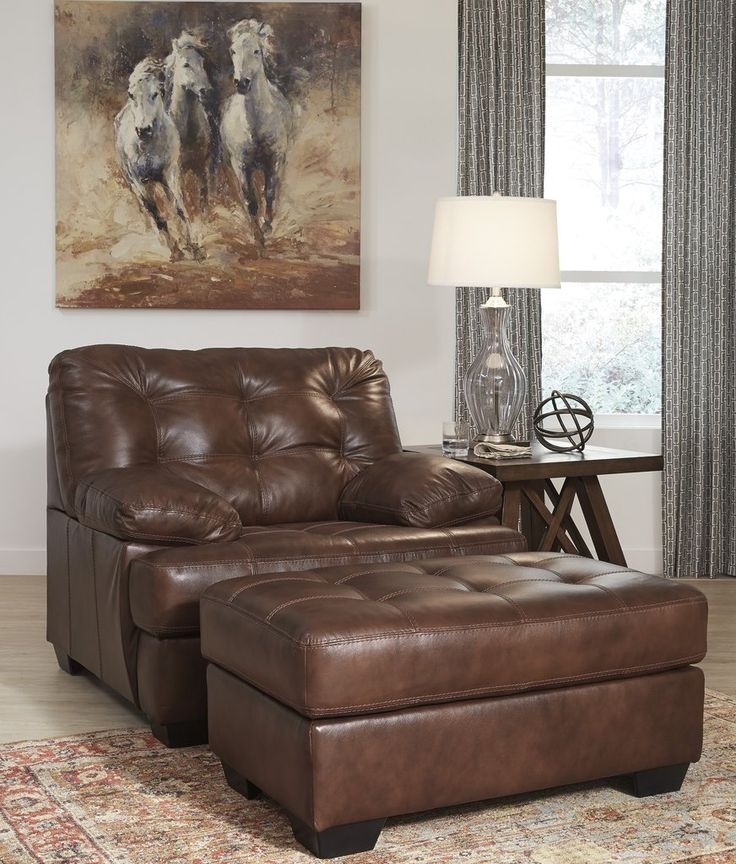 Mindaro Contemporary Leather Canyon Color Chair And Ottoman. Inspired by a great pair of men's oxford shoes, the Mindaro chair is quite handsome. Entire seating area with plush pillow top arms is covered in 100% leather. #Brown #Dark #Chair #Ottoman #Living Room #Leather – Furnituremaxx