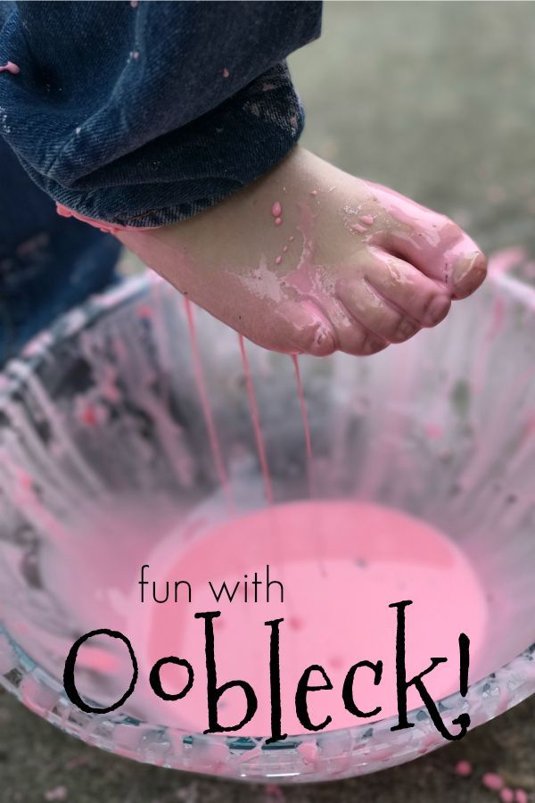 Oobleck is so much fun to play with! Try this drip painting on the sidewalk technique to play with it outside, combining sensory and science!