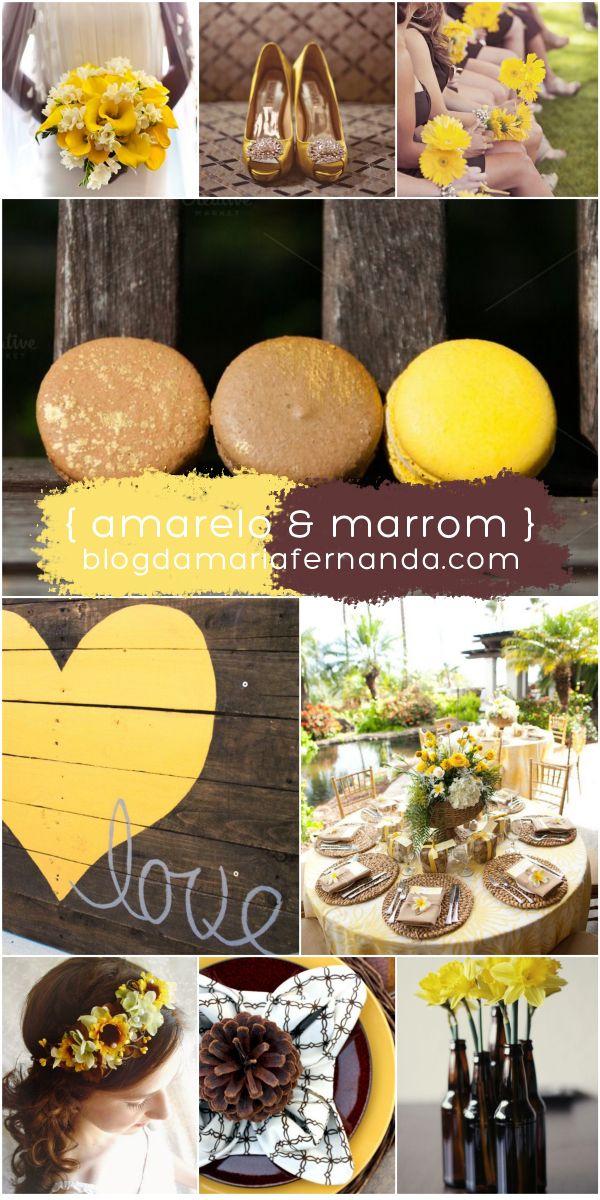 Decoração de Casamento : Paleta de Cores Amarelo e Marrom | http://blogdamariafernanda.com/decoracao-de-casamento-paleta-de-cores-amarelo-marrom