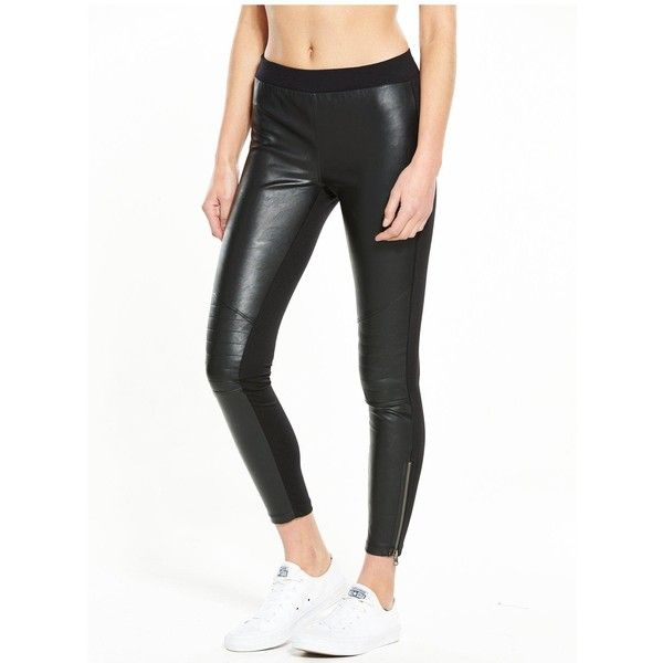 Converse Ponte Pu Legging (551.980 IDR) ❤ liked on Polyvore featuring pants, leggings, wetlook leggings, pu leggings, converse pants, legging pants and white ponte pants