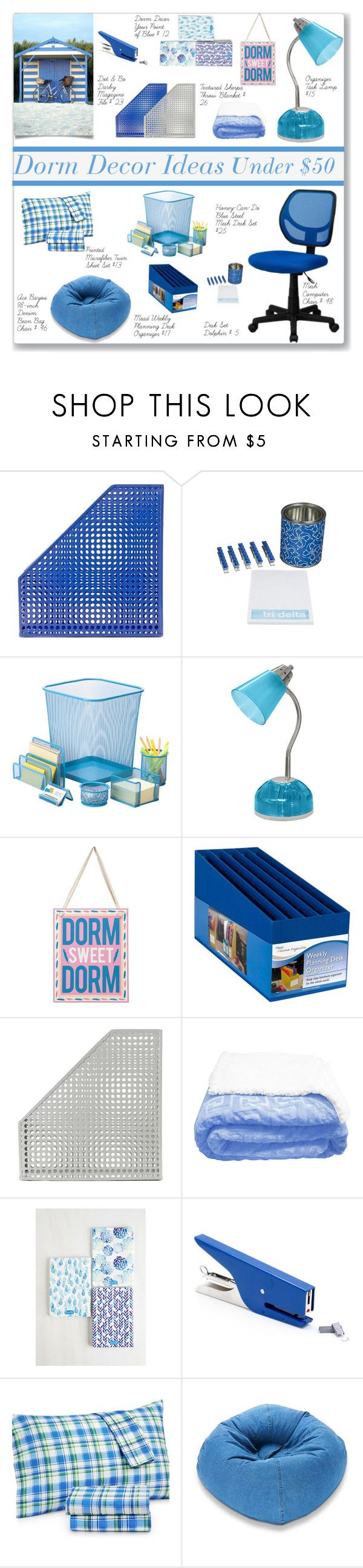 """""""Dorm Decor Ideas Under $ 50"""" by namastebharat ❤ liked on Polyvore featuring interior, interiors, interior design, home, home decor, interior decorating, Dot & Bo, Honey-Can-Do, jcp and Primitives By Kathy"""
