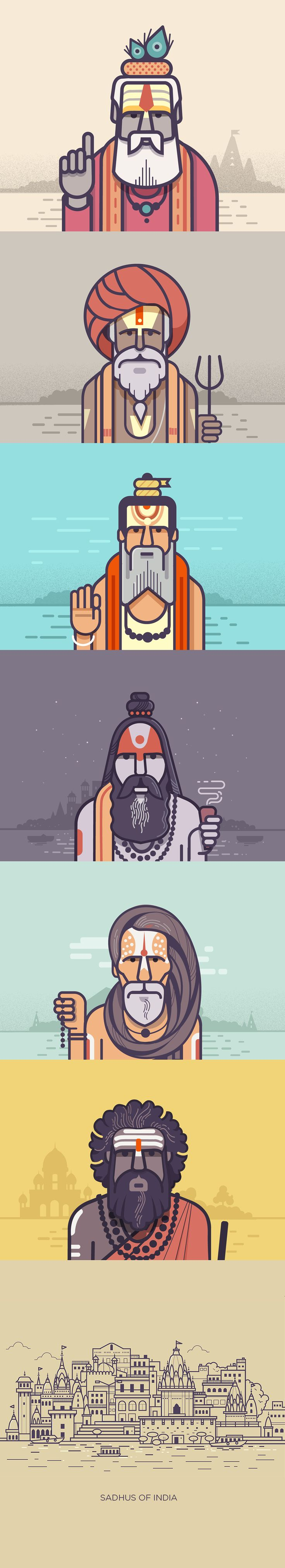 This is a series dedicated to India's 'Holy men' who believe in free spirit. Be it the bright attire, the head gear, or the symbols painted on their forehead, each of them are unique embodiements of the philosophies they believe in. #graphic #illustration #character #design