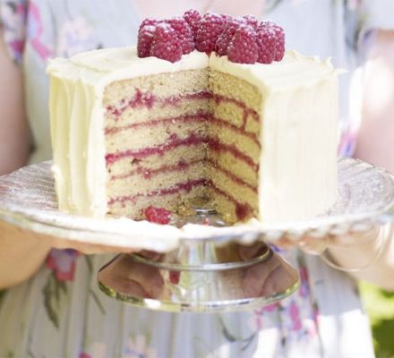 Raspberry spice cake - moist buttermilk sponge, jam, berries and cream cheese frosting, simply divine.
