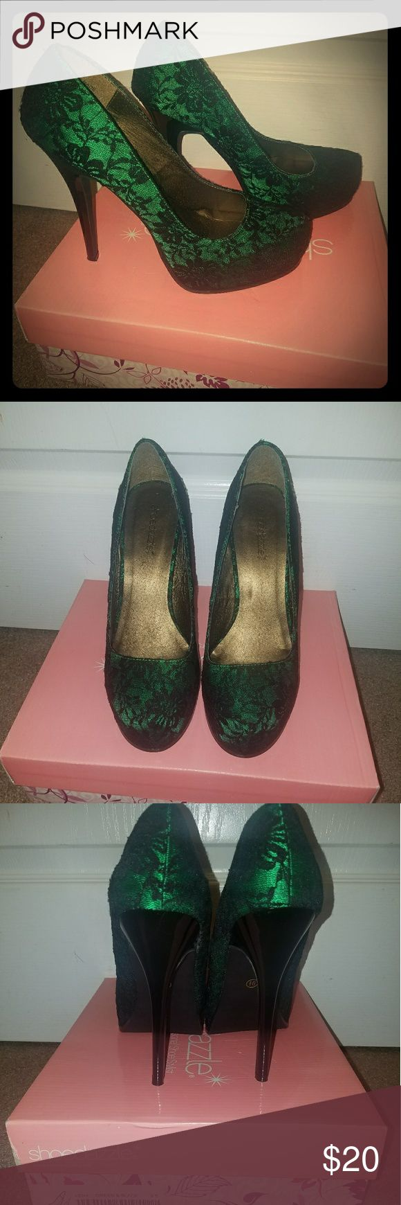 Shoe Dazzle Lace Lena Heels Beautiful lace and emerald heels. Worn once. Stored in box, has dustbag. 4 inch heel 1 inch platform. Like new. Shoe Dazzle Shoes Heels