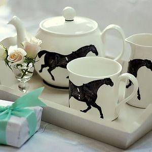 Monochrome Horse Tea Set