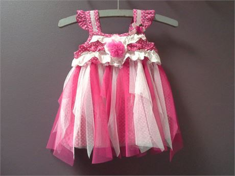 BABY PARTY DRESS, infant tutu dress, pink white tulle dress, small summer dress   She is a cute up cycled infant girls dress.  Pink white polka dot cotton, she is lightweight and soft.  She has been embellished with layers of soft pink and white tulle along her waist band to form a tutu, and pink flower motif  3 Buttons at the back for easy dressing.  Pumpkin Patch brand the tag reads 0 to 3 months   18 inch around chest .. 46 cm  a full skirt area  14 inches long from top of shoulder to…