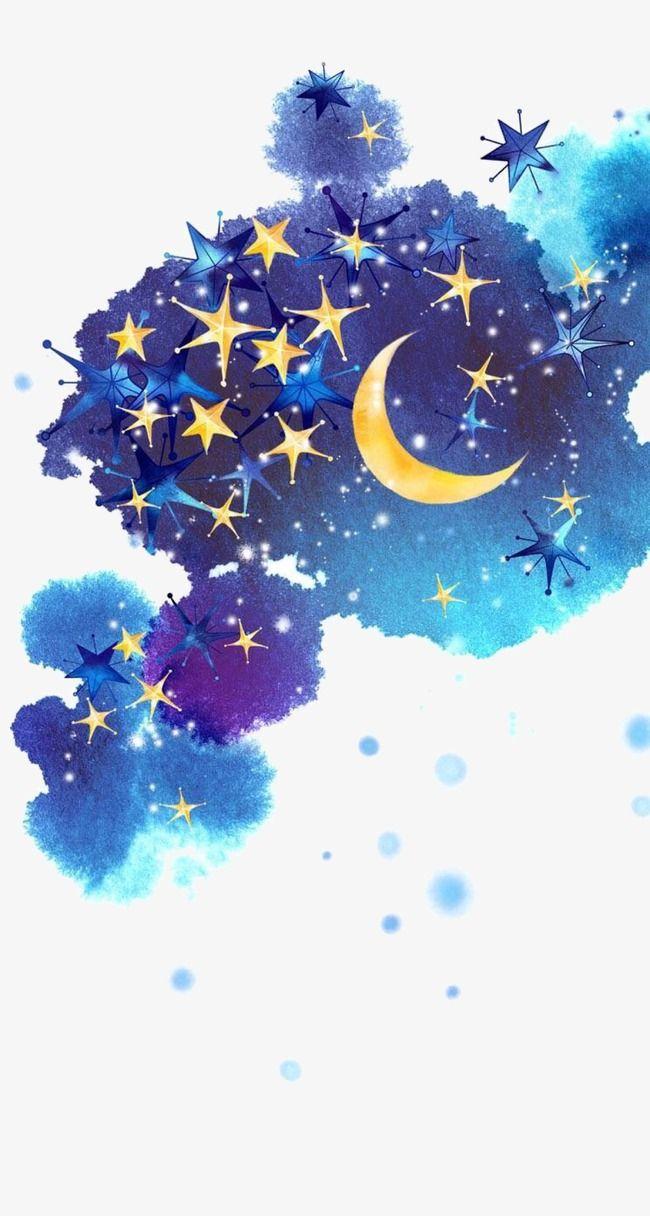 Star Moon Sky Ink Marks Illustration Hand Painted Night View Ink Marks Hand Painted Night View Painted Clipart Night Clip Moon Art Sky Art Art Wallpaper Iphone