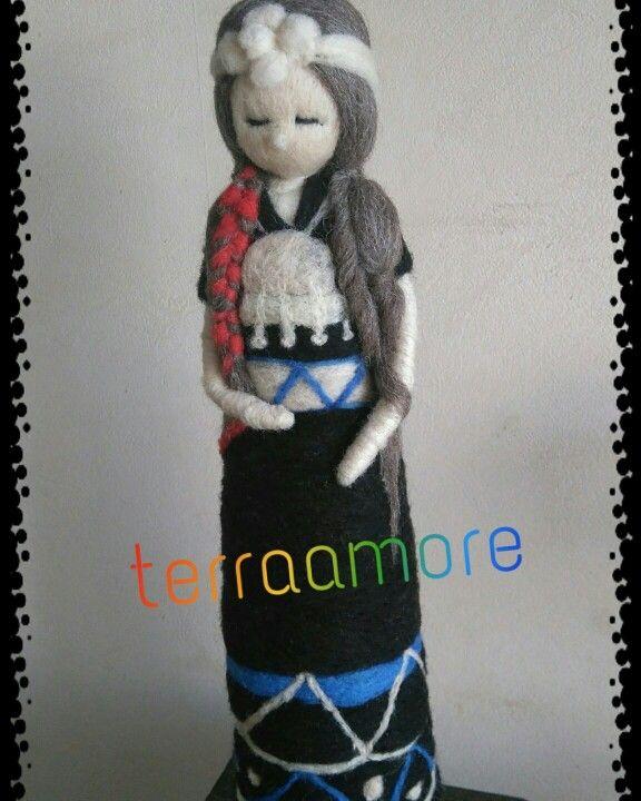 Muňeca de vellón  Mujer mapuche