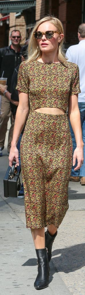 Kate Bosworth in the most perfect Springtime dress carrying a Mark Cross Grace Smooth Calfskin Box Trunk.