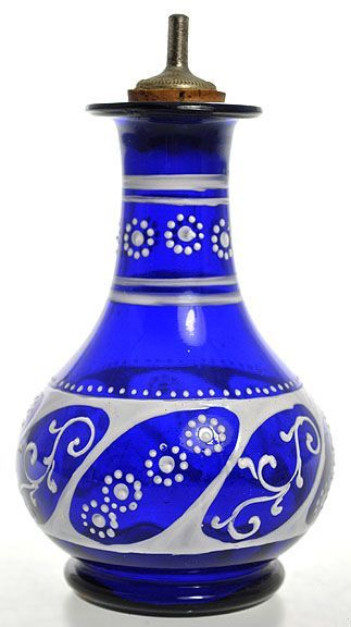 Perfume Bottle | Dresser Blown Glass Cobalt Enameled Decoration