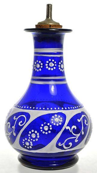 Perfume Bottle | Dresser Blown Glass Cobalt Enameled Decoration