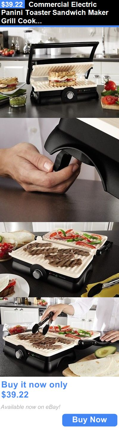 appliances: Commercial Electric Panini Toaster Sandwich Maker Grill Cooker Kitchen Machine BUY IT NOW ONLY: $39.22
