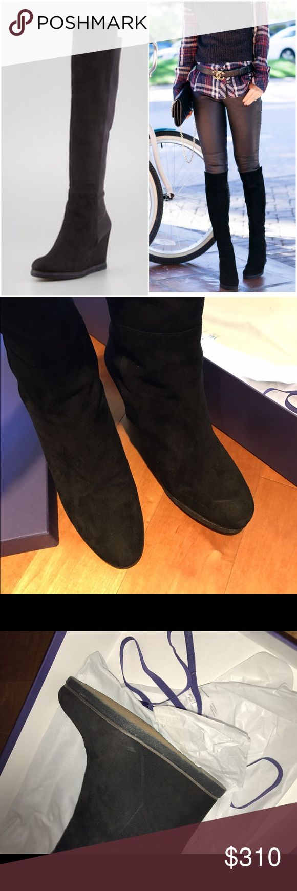 Stuart weitzman demiswoon black suede boots 9 With original box and dustbags. Worn twice. Black tall suede, has elasttic back. Sz 9 Stuart Weitzman Shoes Over the Knee Boots