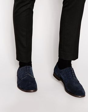 ASOS Derby Shoes in Navy Suede