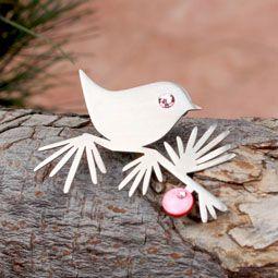 Mother of Pearl Metal Swarovski Elements Snow Bird Brooch