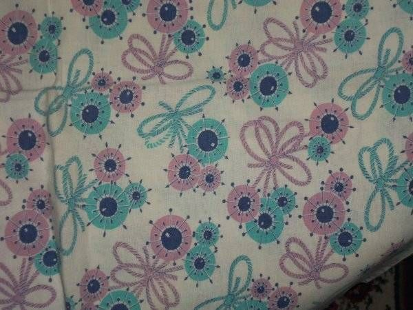 Vintage Feedsack Fabric Novely bows round flowers spikes Turquoise Lavender stun