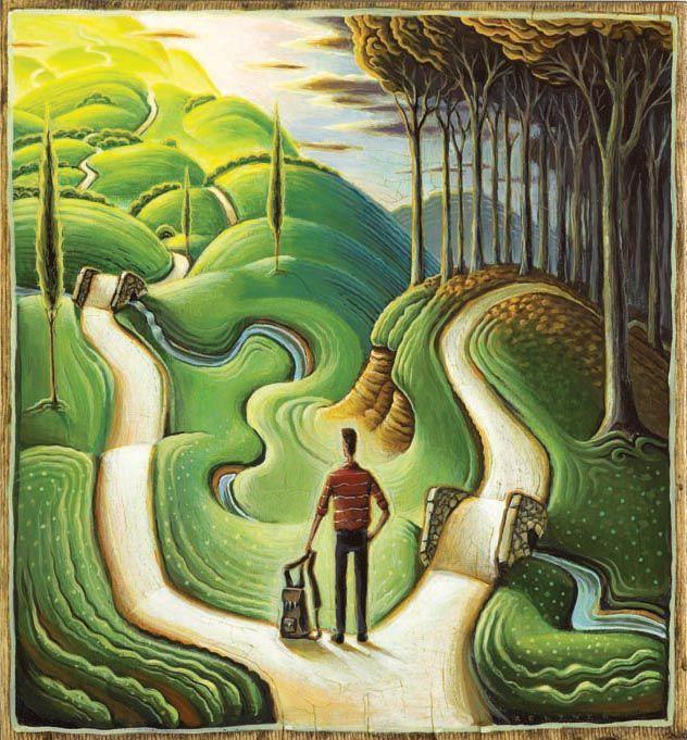 At the Crossroads. Illustration by Tim Zeltner. Represented by i2i Art Inc. #i2iart