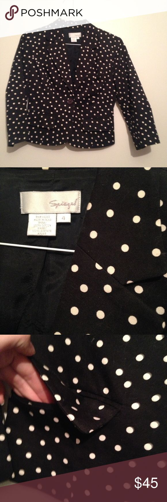 Polka dot blazer black and white 🚛📦Moving Sale = 2️⃣5️⃣% off bundles of 2+ 📦📦  Preppy black and white polka dot blazer.  Size 4. Brand is Spiegel. The black seems to have faded slightly, but otherwise in great condition. Two functional front pockets. Still unsure if I'm ready to part with it... Spiegel Jackets & Coats Blazers