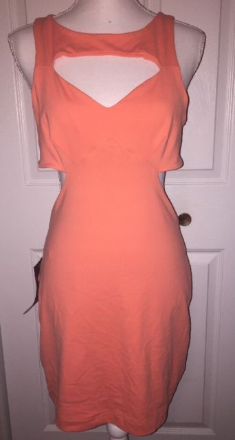 NWT Bebe Multi Cut Out Coral Orange Mini Dress Bodycon Size Large | eBay