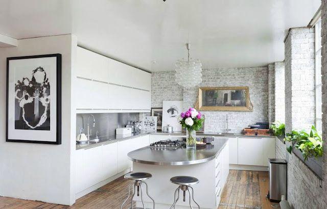 wow: Apartment Kitchens, Bricks Wall, Loft Apartment, Interiors Design, White Cabinets, Dream Kitchens, London Apartment, White Kitchens, Stainless Steel