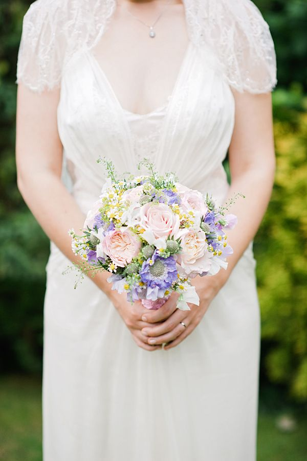 Blush pink roses and scabiosa bridal bouquet