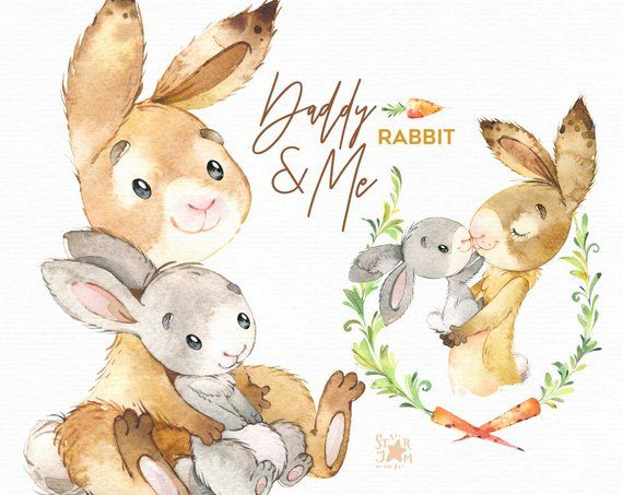 Daddy Me Rabbit Watercolor Animals Clipart Father Hugs Family Hare Bunny Father S Day Floral Carrot Wreath Baby Shower Nursery Animal Clipart Watercolor Animals Bear Watercolor