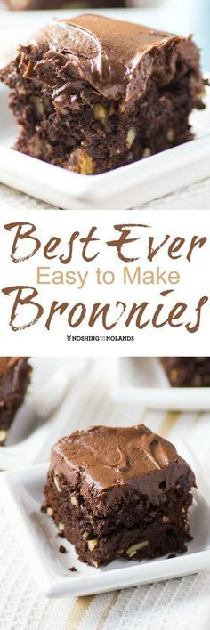 Best Ever Easy to Make Brownies by Noshing With The Nolands - These decadently frosted treats are perfectly balanced between fudgy and cakey!