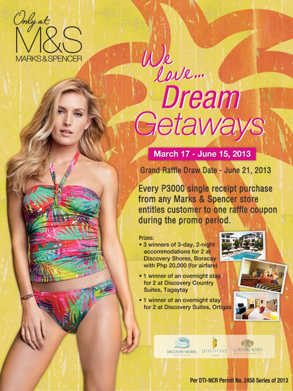 For every Php 3,000 purchase at any M store will earn a raffle ticket for a chance to win a Boracay Summer Getaway!